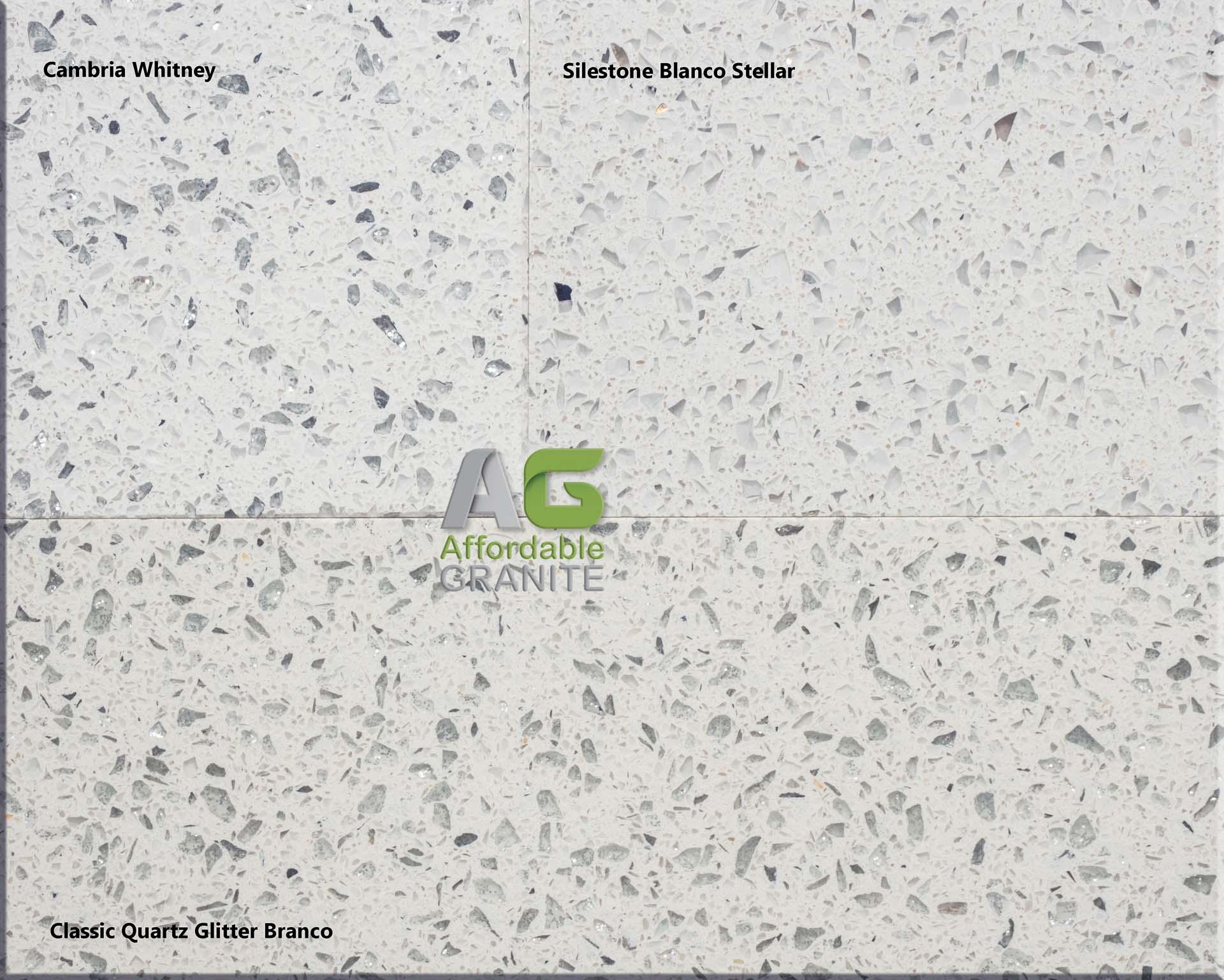 180615 Cambria Whitney Silestone Blanco Stellar Classic quartz Glitter Branco