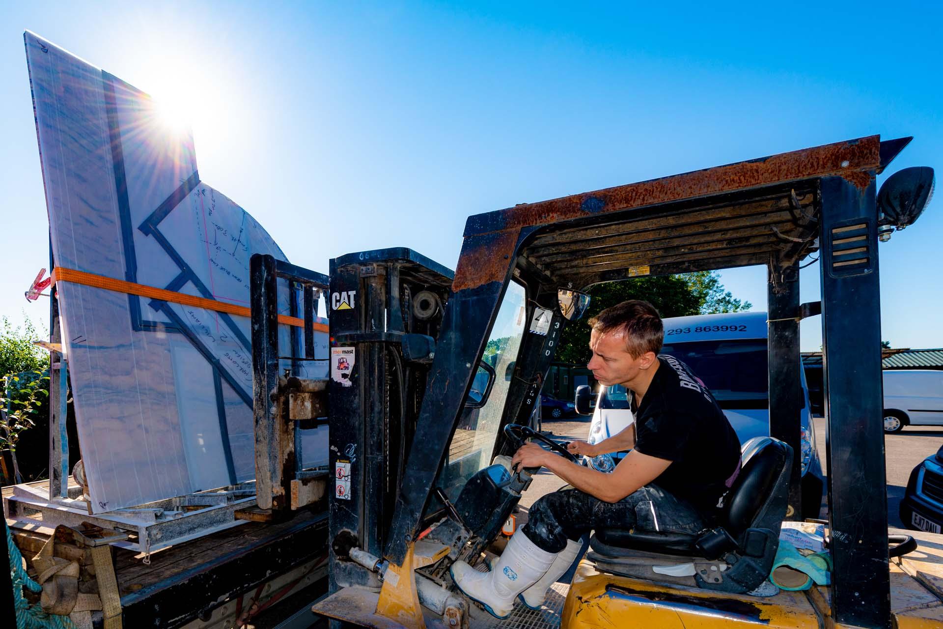loading flatbed truck granite island