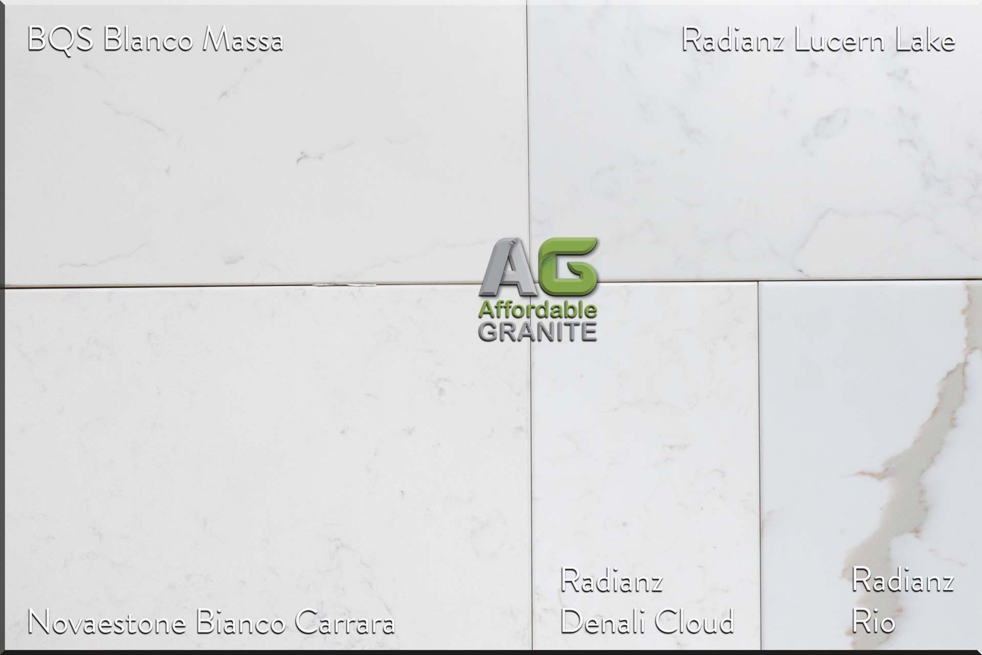 BQS Blanco Massa Novaestone Bianco Carrara Radianz Rio Denali Cloud Lucern Lake