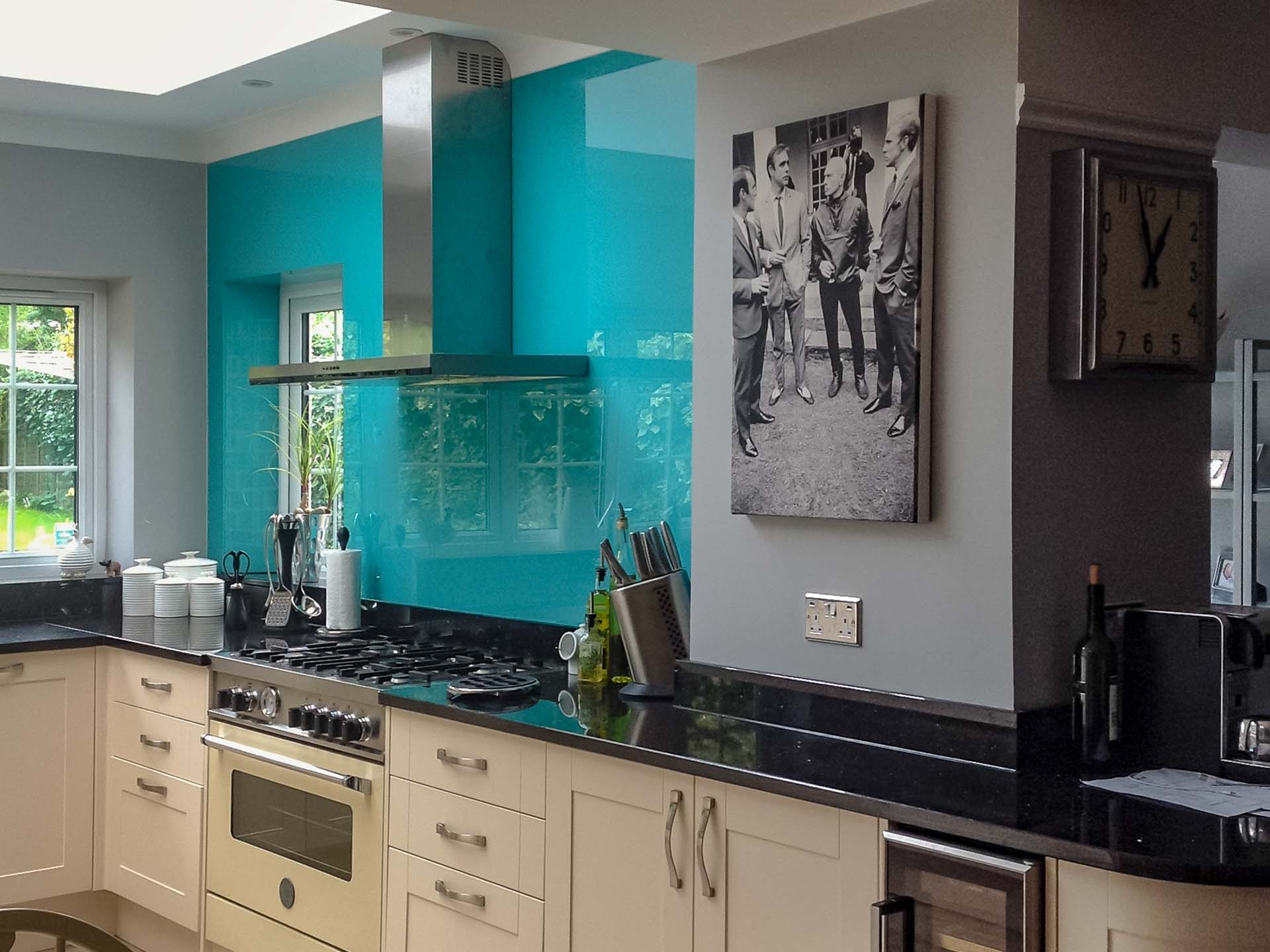 Black Galaxy Granite worktops Reigate Surrey Southern Counties Glass blue glass splashbacks
