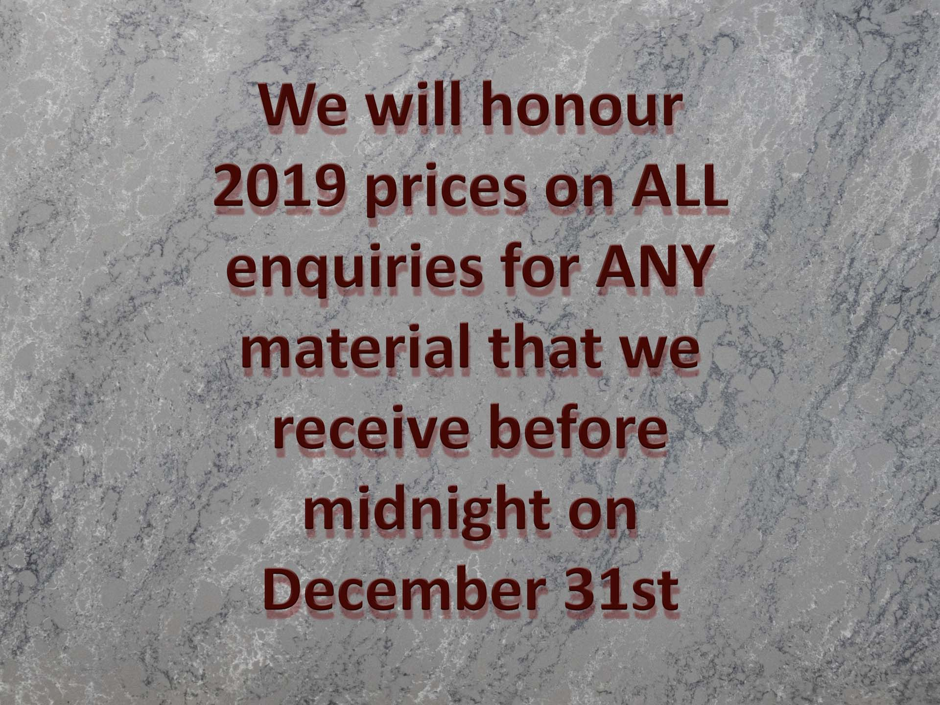 Bloom Stones Storm Grey new year quartz worktops price rises not one of yours Jade special offer red