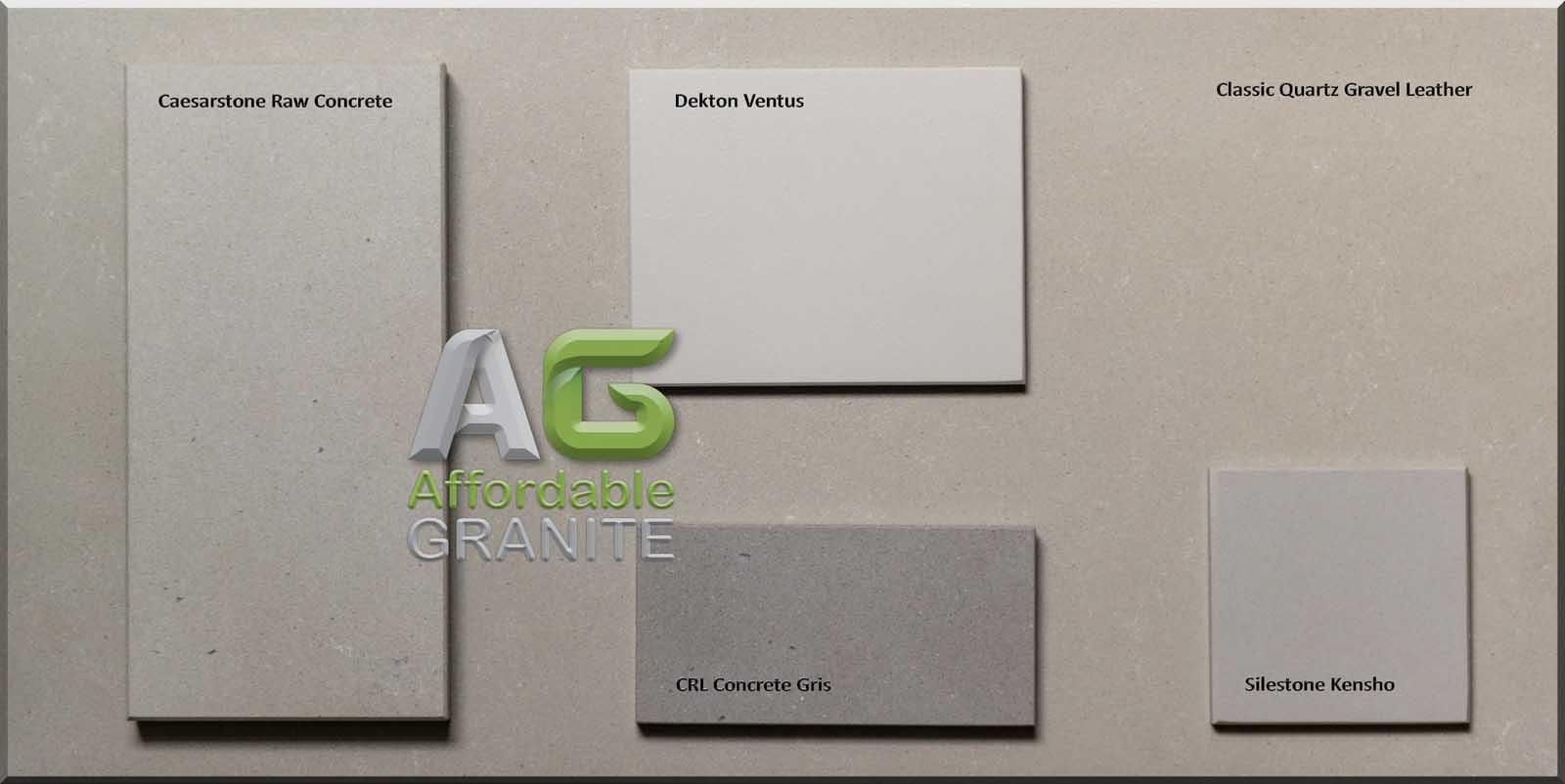 Caesarstone raw concrete dekton ventus classic quartz gravel leather CRL concrete gris silestone kenshoa