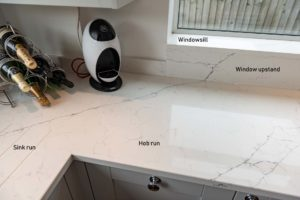 Classic Quartz Alaska Bianca quartz worktops Haywards Heath west sussex vein-matching