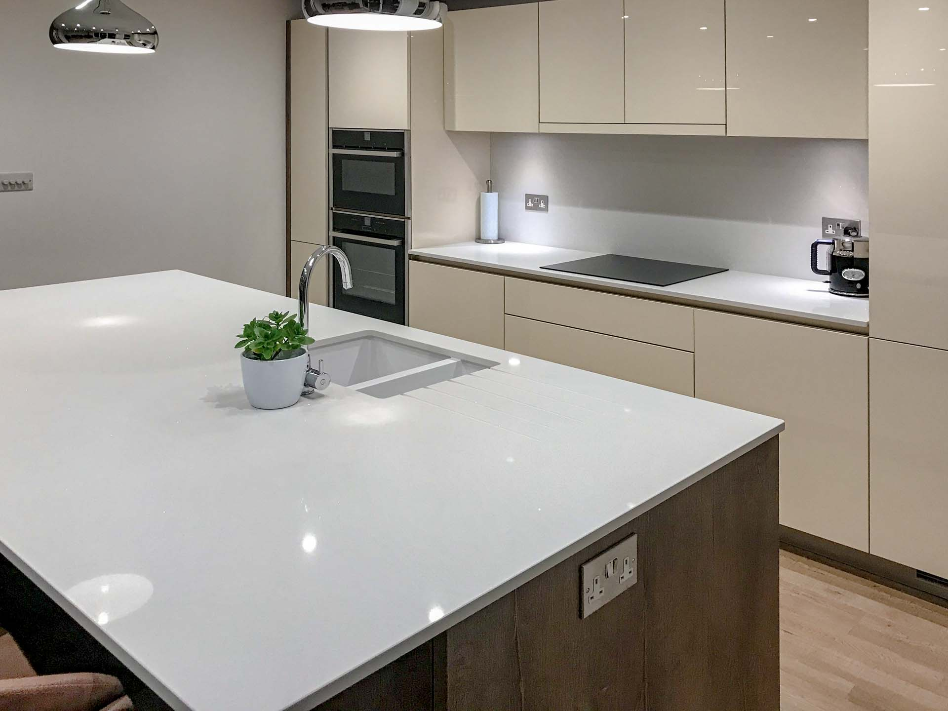 Classic Quartz Ice Branco Ice Branco kitchen supplied by ballerina kitchensa