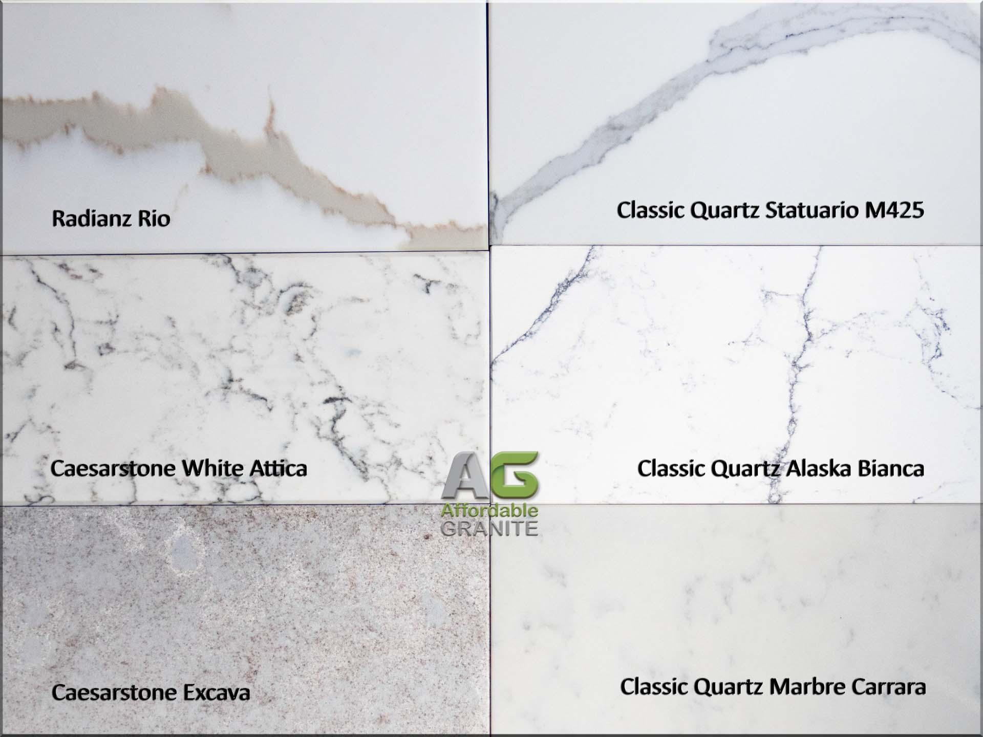 Classic quartz alaska bianca marbre carrara statuario caesarstone white attica excava radianz rio quartz worktops surrey