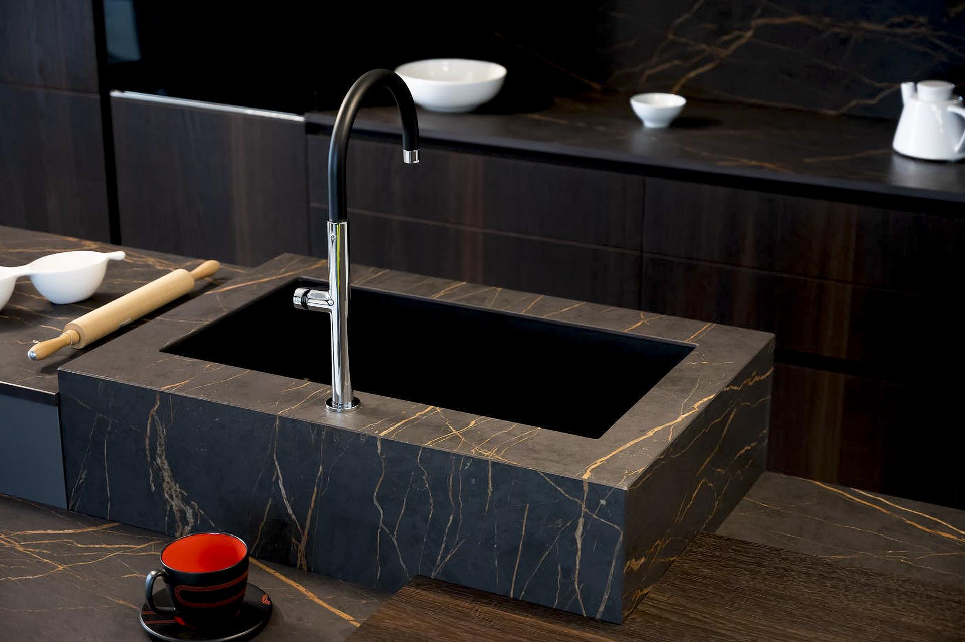 Dekton Laurent black and gold marble look portoro kitchen worktops 080238 a