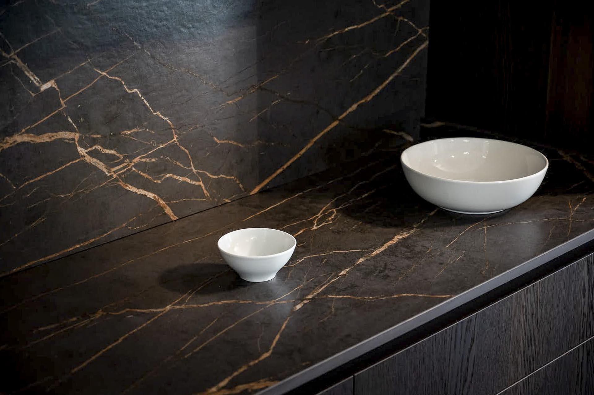 Dekton Laurent black and gold marble look portoro kitchen worktops 080306 b