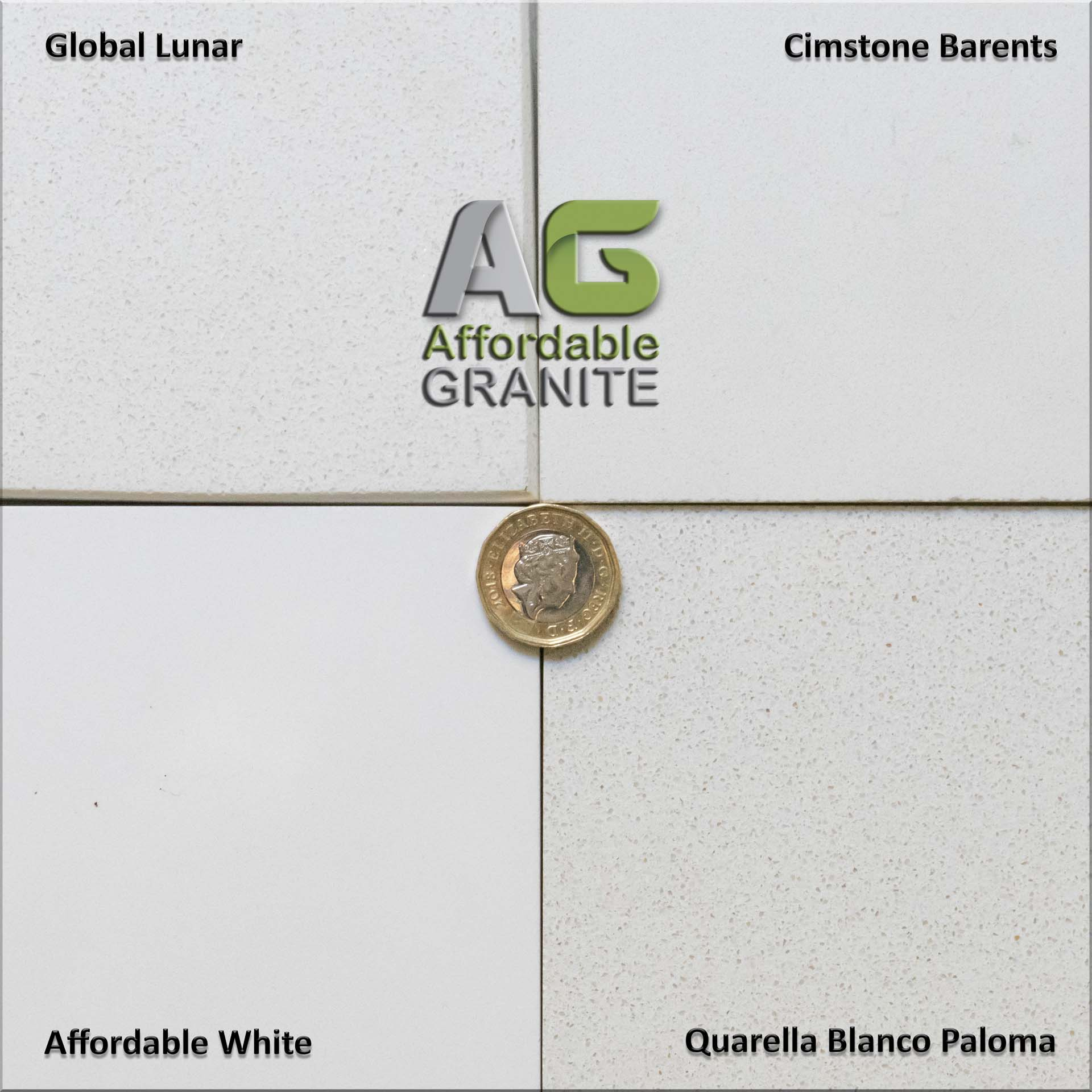 Global Lunar Quarella Blanco Paloma Cimstone Barents Affordable White quartz worktops