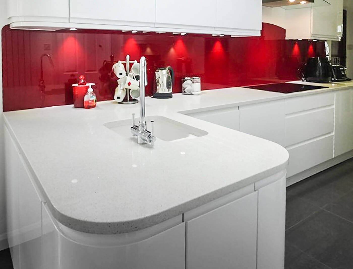 White Mirror Worktop with Burgundy Glass Splashbacks