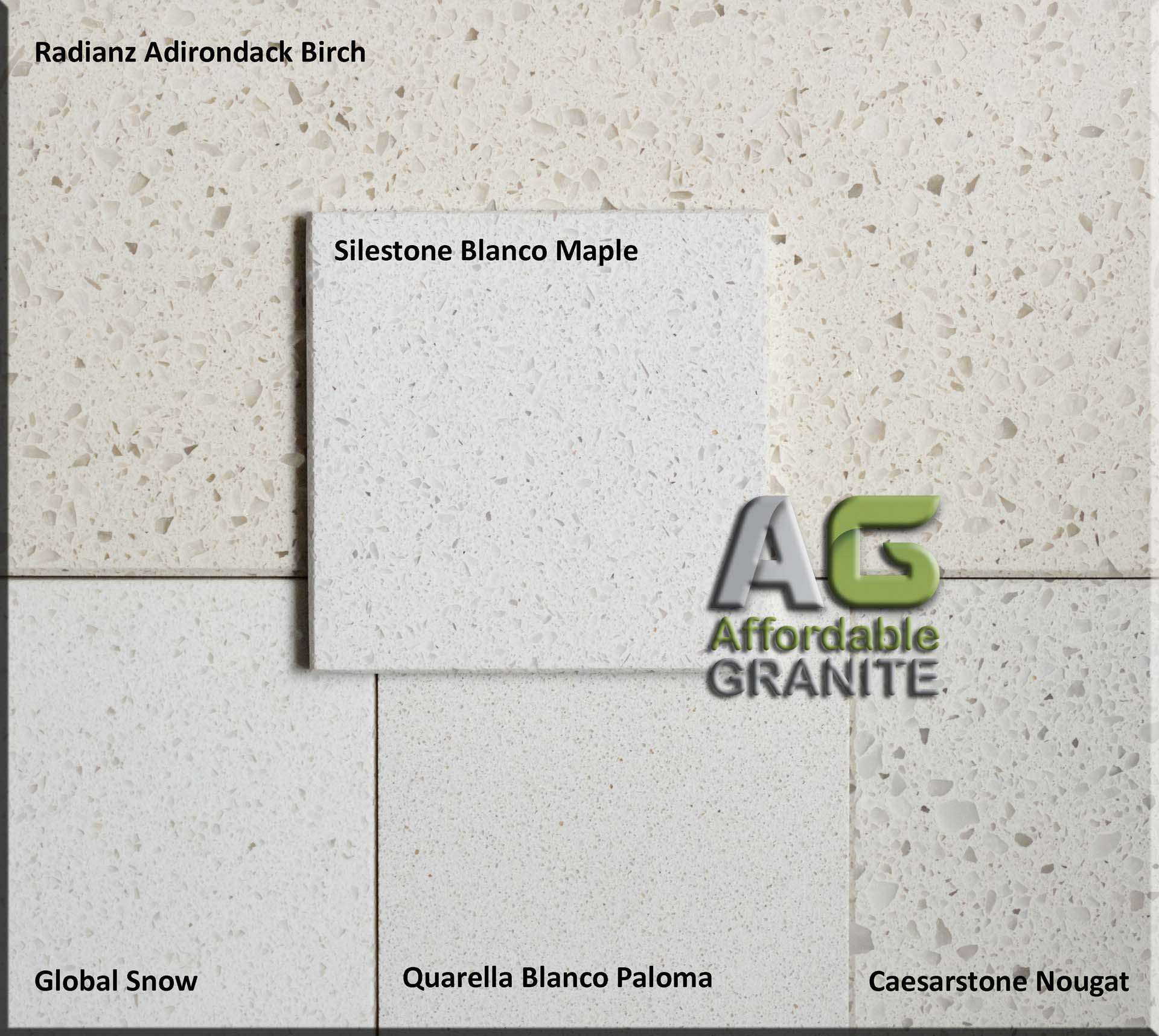 Radianz Adirondack, Silestone Blanco Maple, Global Snow, Caesarstone Nougat, Quarella Blanco Paloma