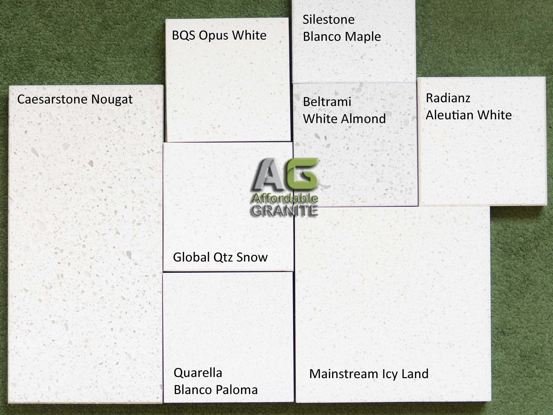 Caesarstone Nougat, BQS Opus White, Global Snow, Quarella Blanco Paloma, Mainstream Icy Land, Radianz Aleutian White, Beltrami White Almond