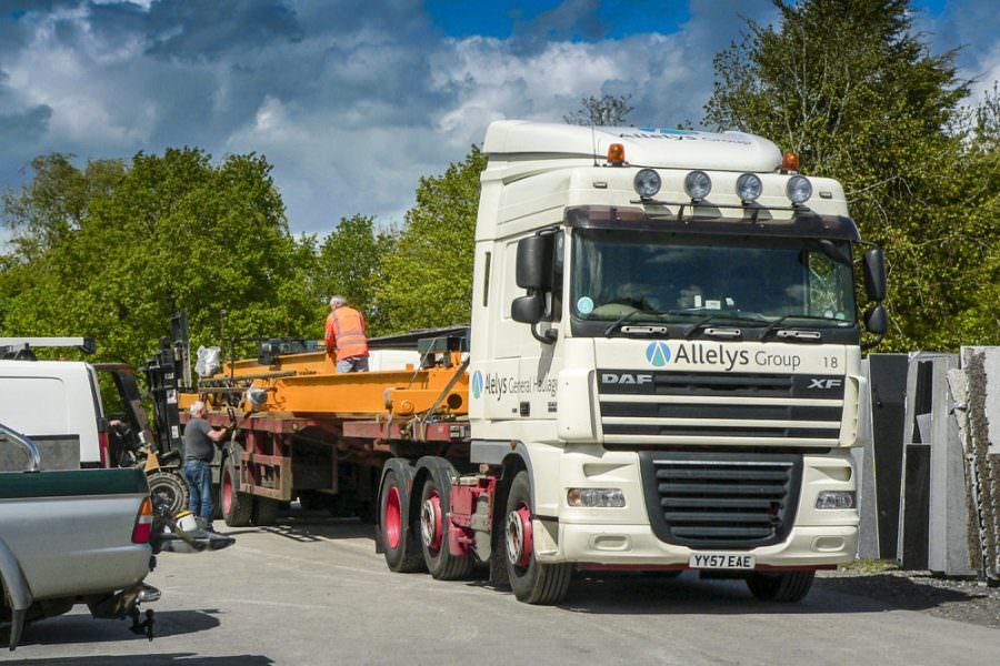 Granite Crane at Affordable Granite's New Workshop in Surrey