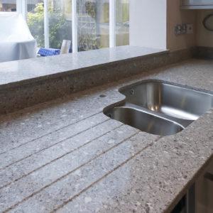 Silestone Alpina White quartz one and a half bowl sink
