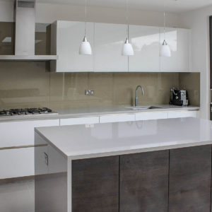 Silestone Aluminio Nube island with butted downstands
