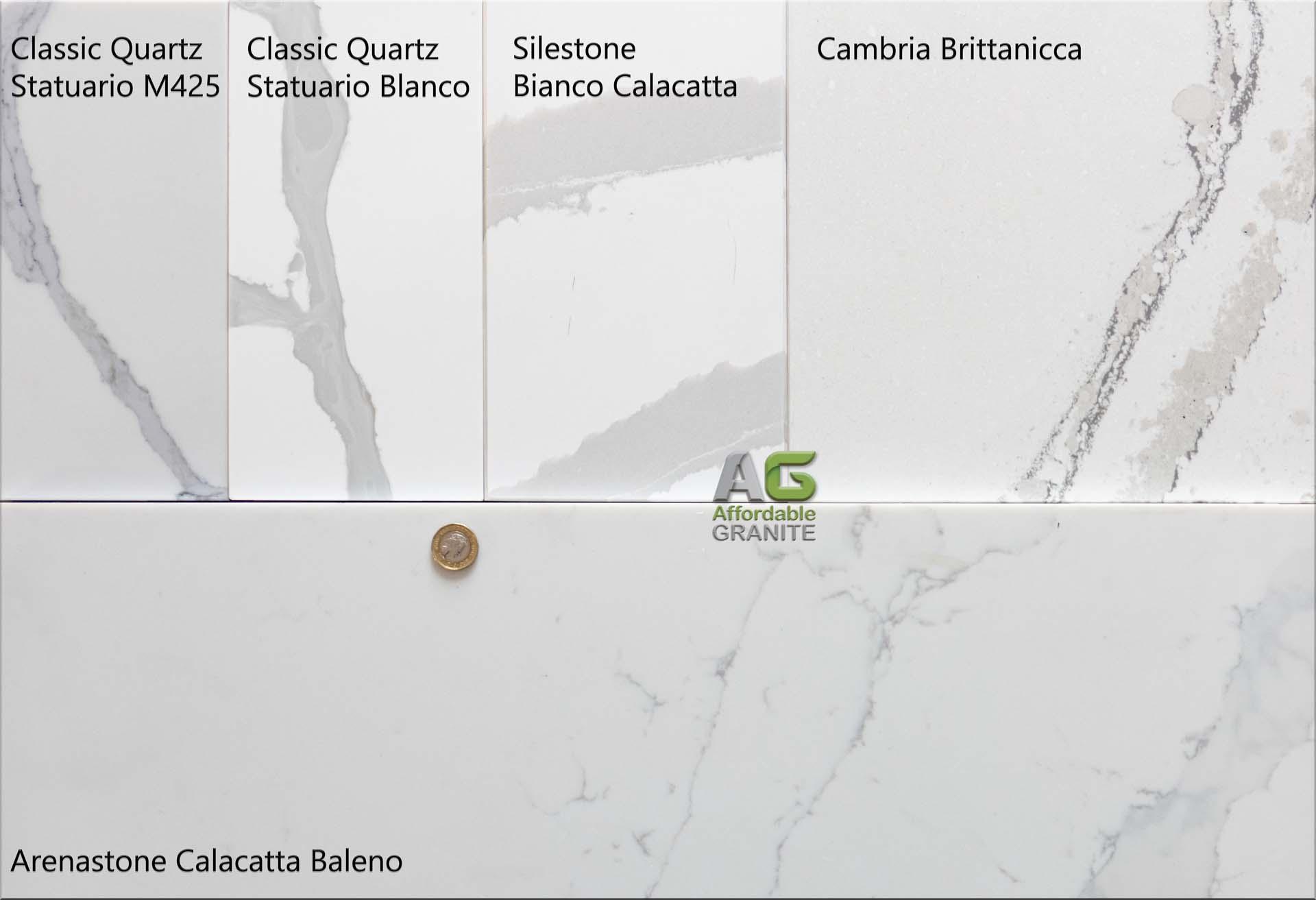 white marble quartz Silestone Calacatta Bianca Classic Quartz Statuario Blanco Cambria Brittanicca Arenastone Calacatta Baleno a