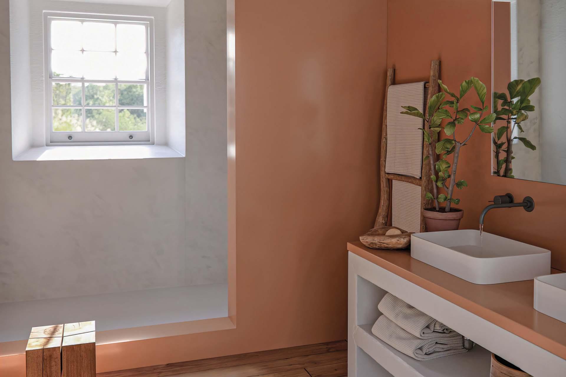 Arcilla red bathroom installation