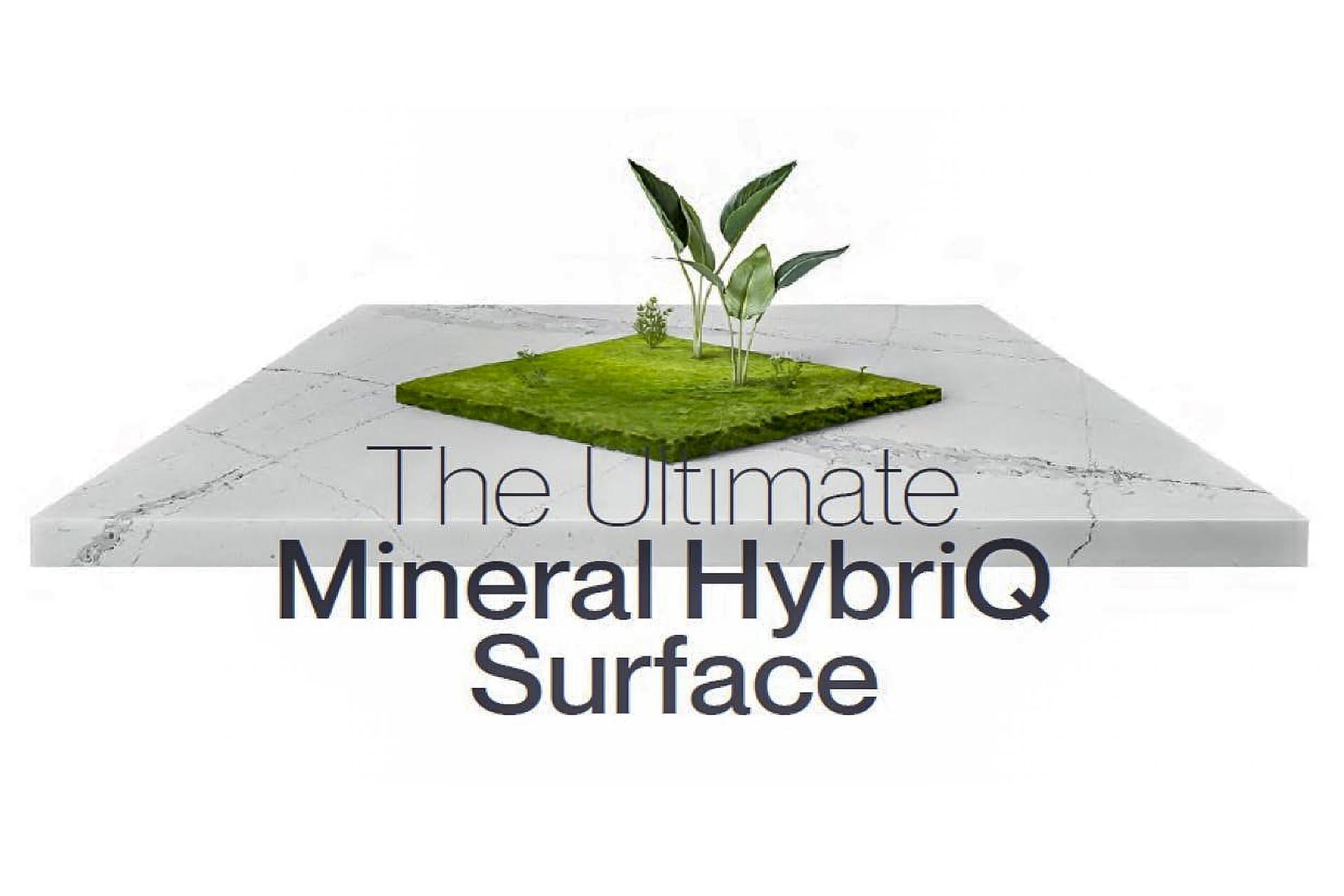 Silestone Hybriq logo and image granite worktops