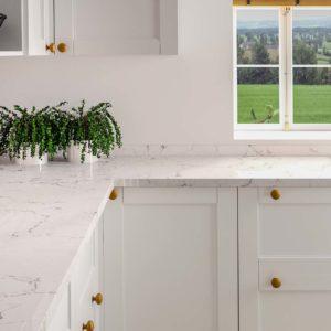 Silestone Kitchen White Arabesque quartz worktops