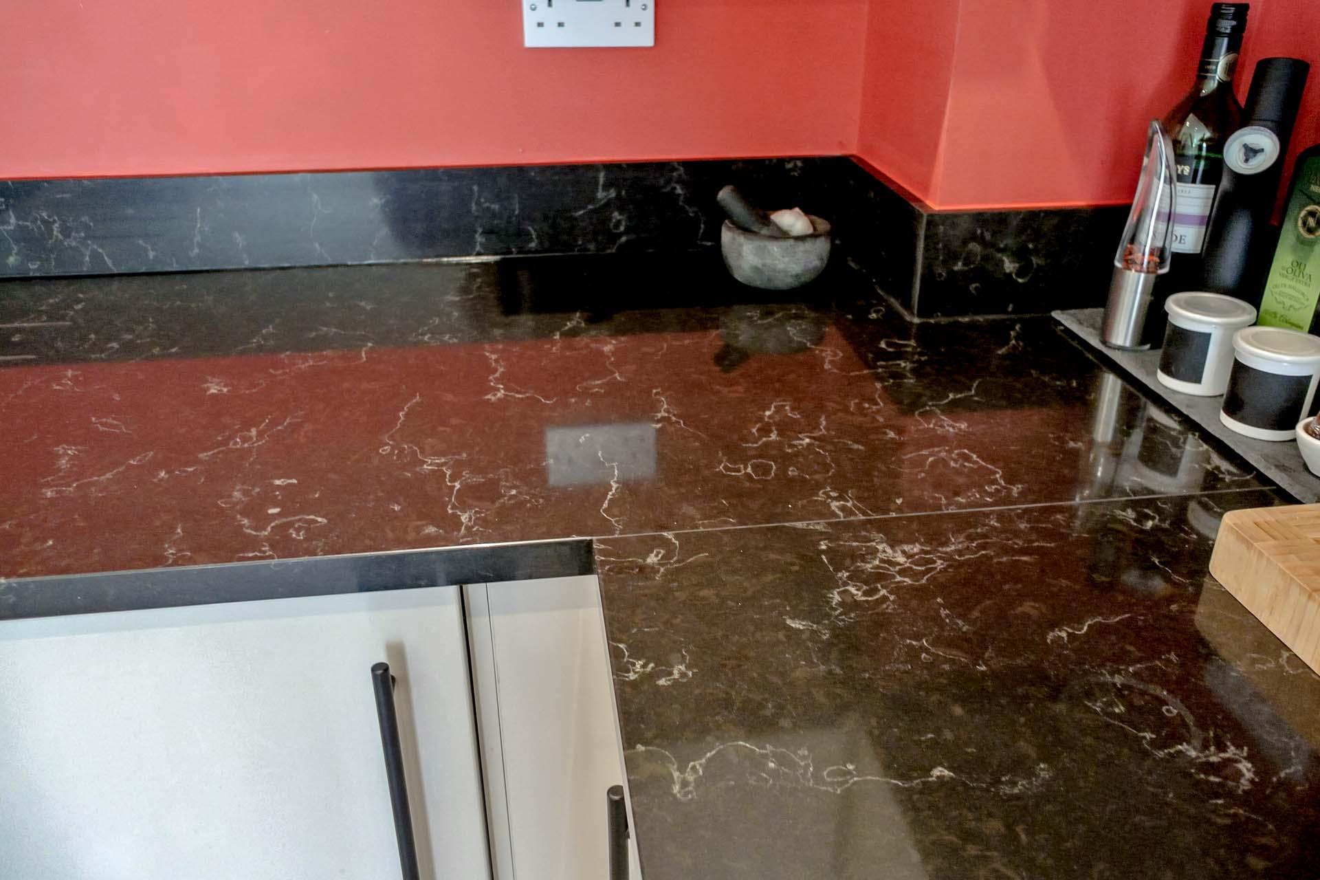 Unistone Java Black Noir Quartz Worktops Surrey Reigate Granite Franke SID160 Tectonite sink 094236