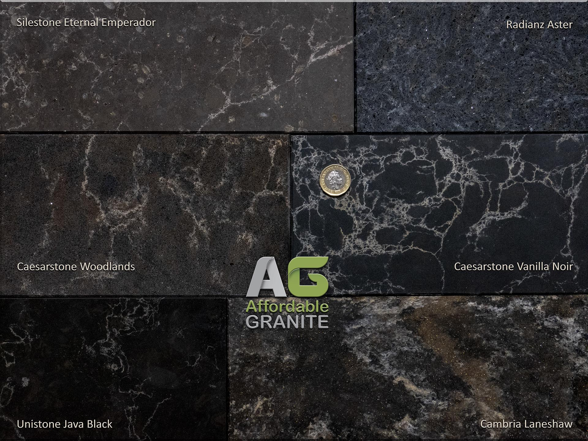 Unistone Java Black Radianz Aster Caesarstone Woodlands Vanilla Noir Cambria Laneshaw Silestone Eternal Emperador quartz worktops 113054 redu