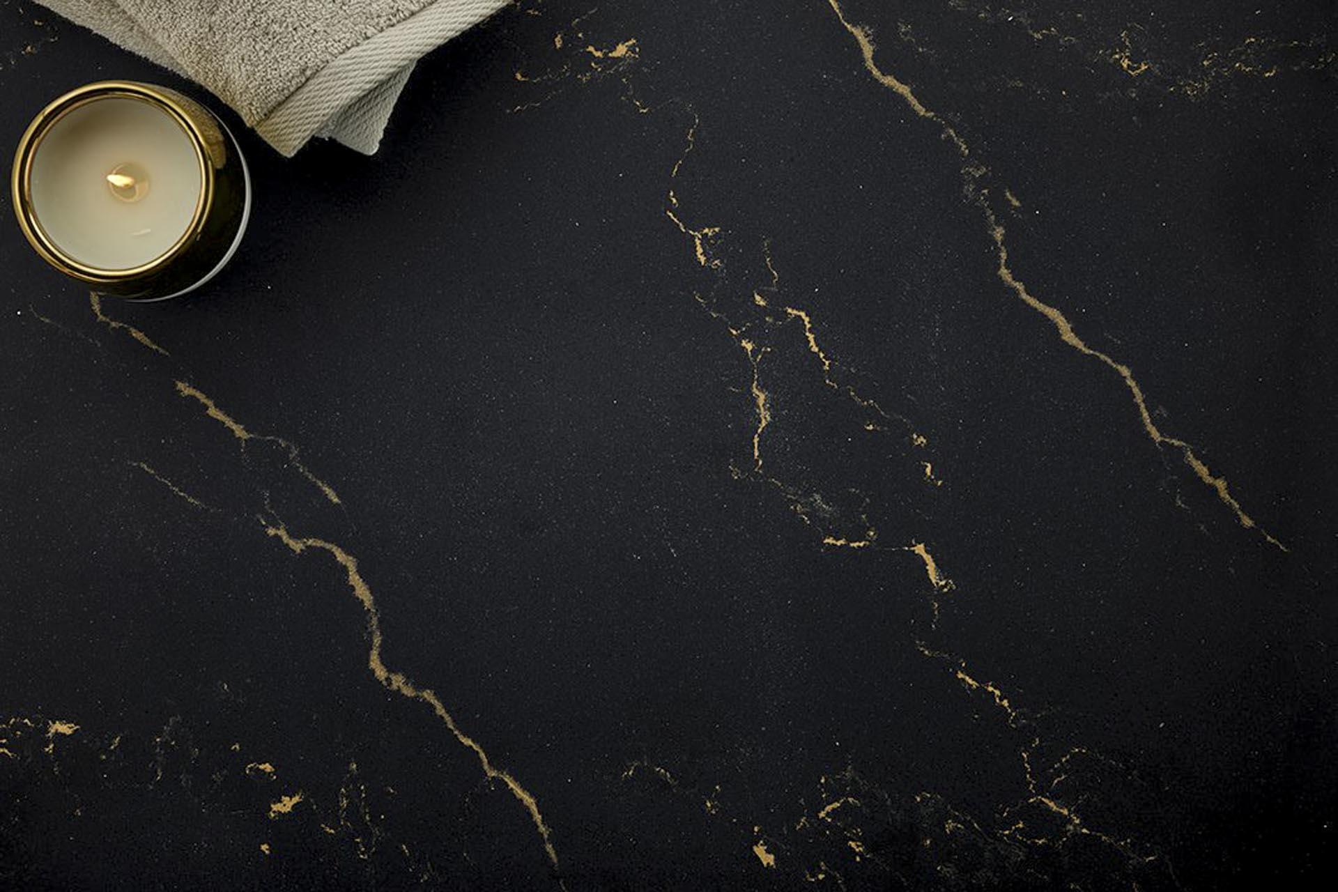 Cambria woodcroft black and gold quartz