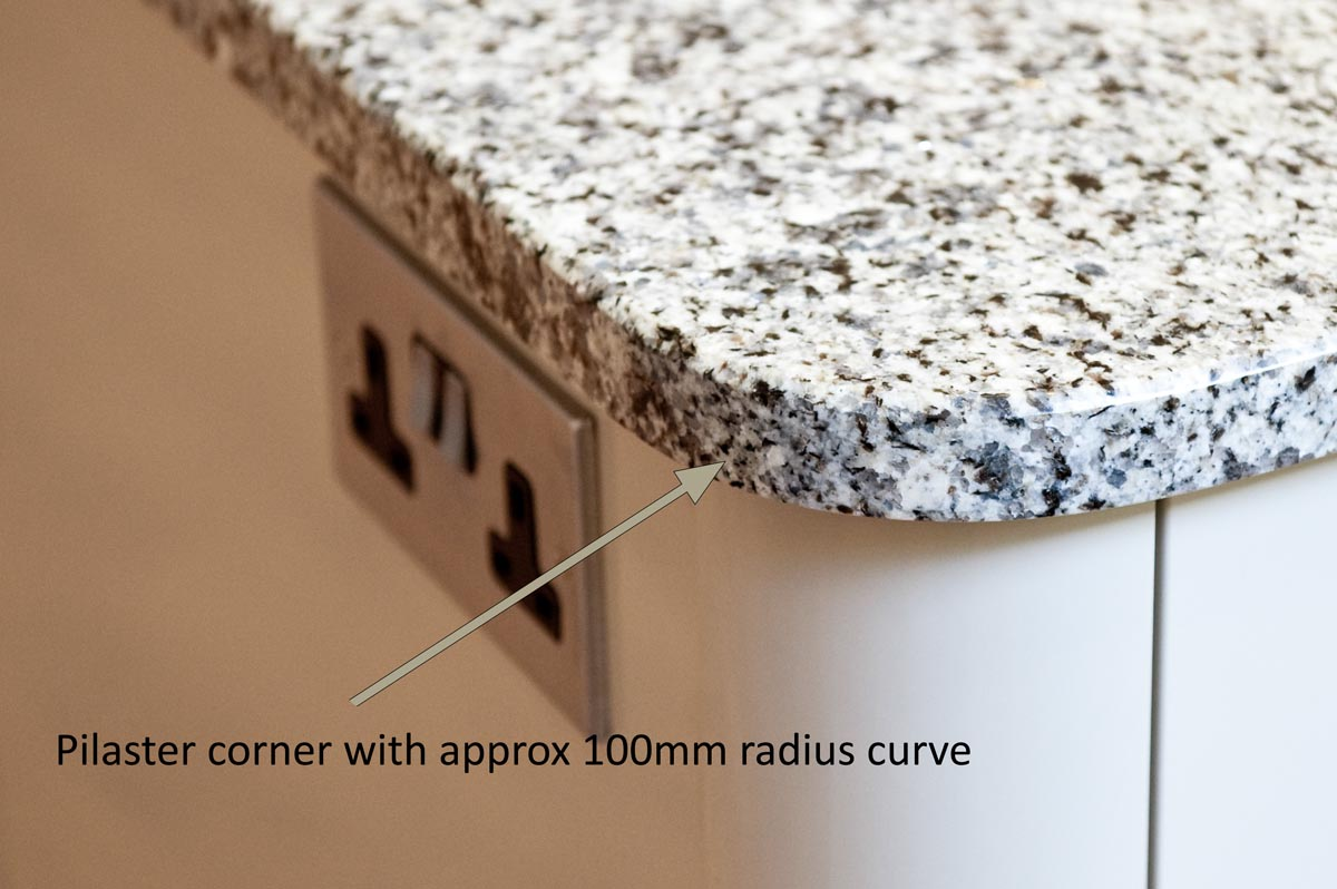 azul platino granite east grinstead pilaster corner radius curve worktop quotation