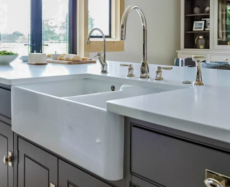 White Inset Kitchen Sink