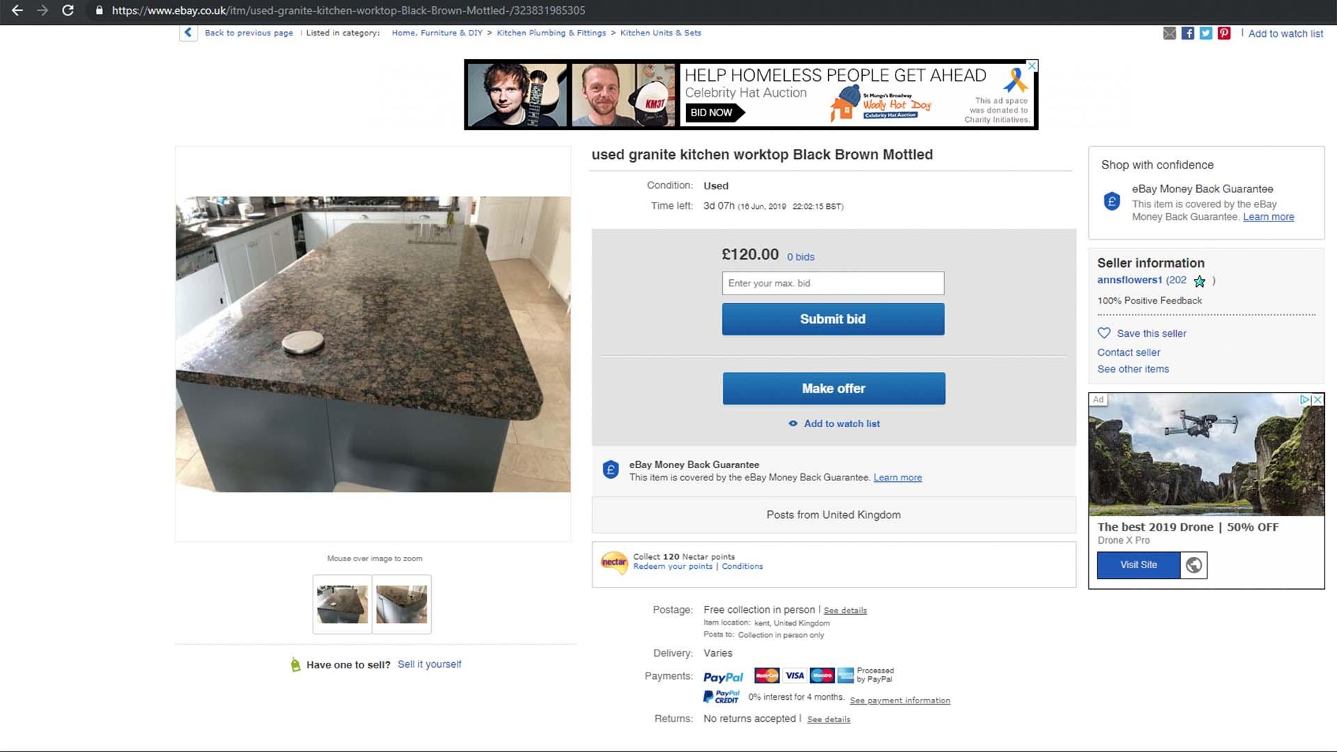 ebay granite worktops baltic brown secondhand