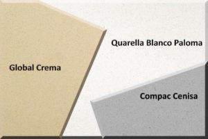global crema compac cenisa quarella blanco paloma quartz worktops special offer 2 by 3