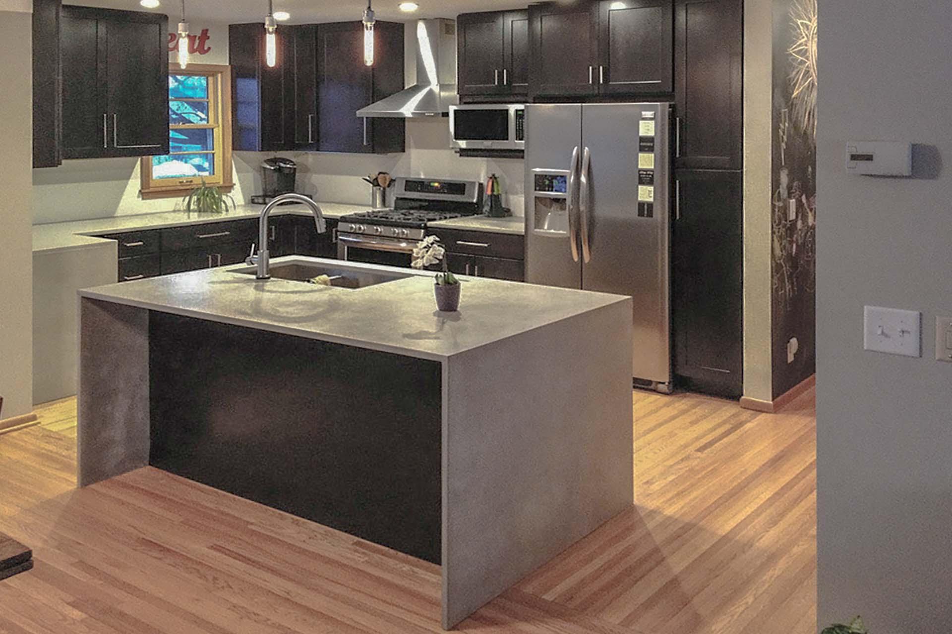 Polished undersides granite quartz kitchen island under polishing smoothing Jenny Lind 141407