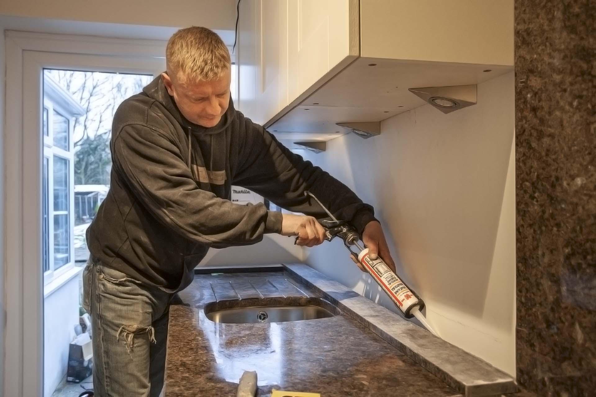 labrador antique granite horley galley kitchen