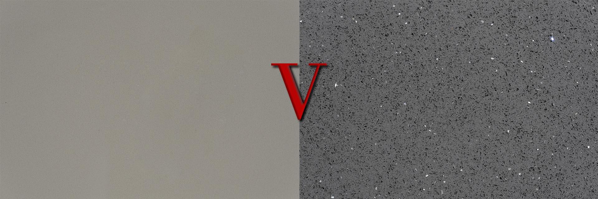 plain v sparkly quartz worktops