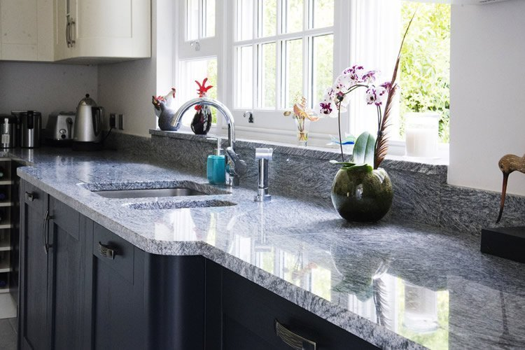 Silver Cloud granite worktops fitted in West Clandon