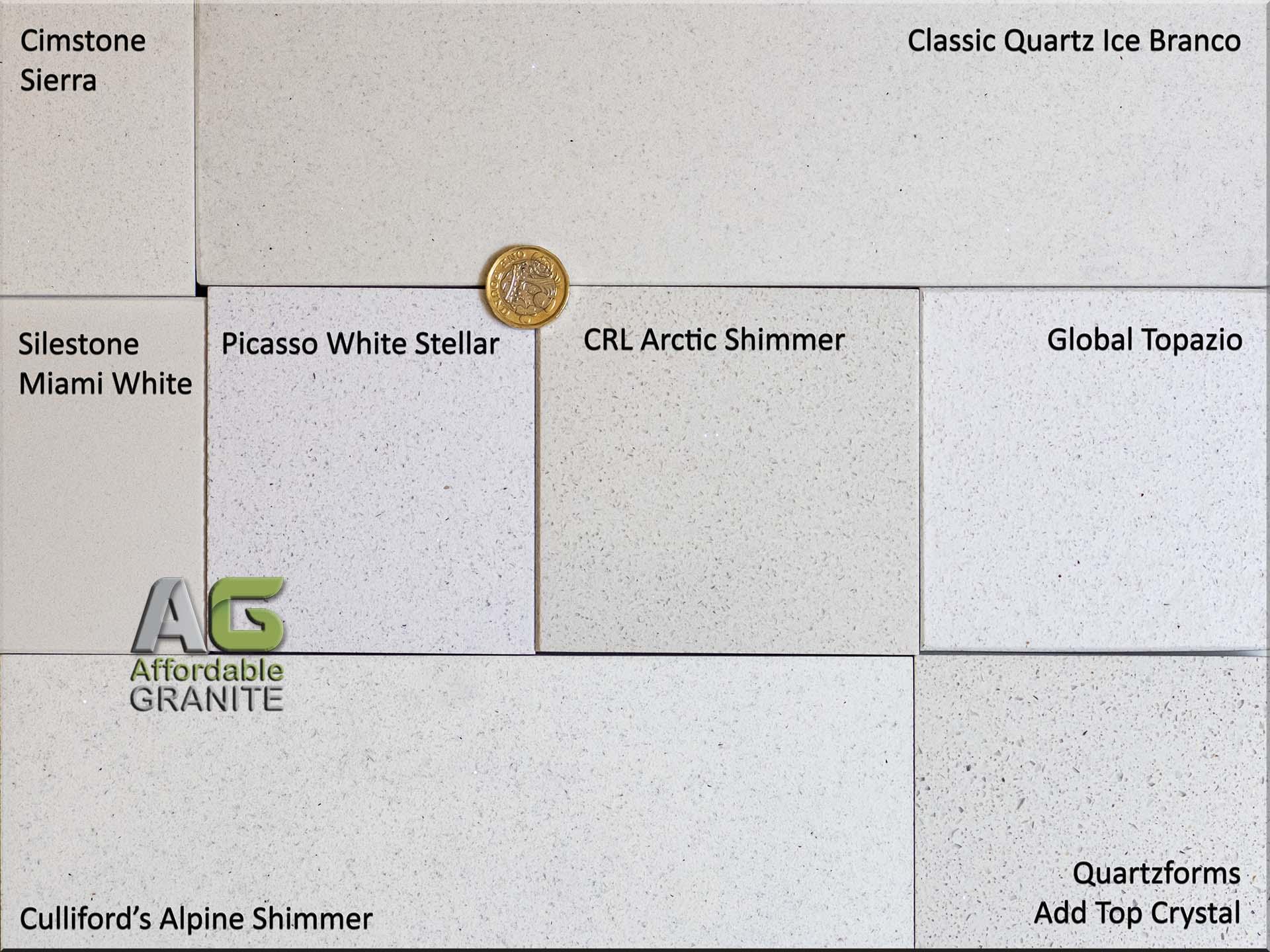 small sparkles CQ Ice Branco Global Topazio Quartzforms Add Top Crystal Culliford Alpine Shimmer Cimstone Sierra Silestone Miami Shite Picasso White Stellar redw