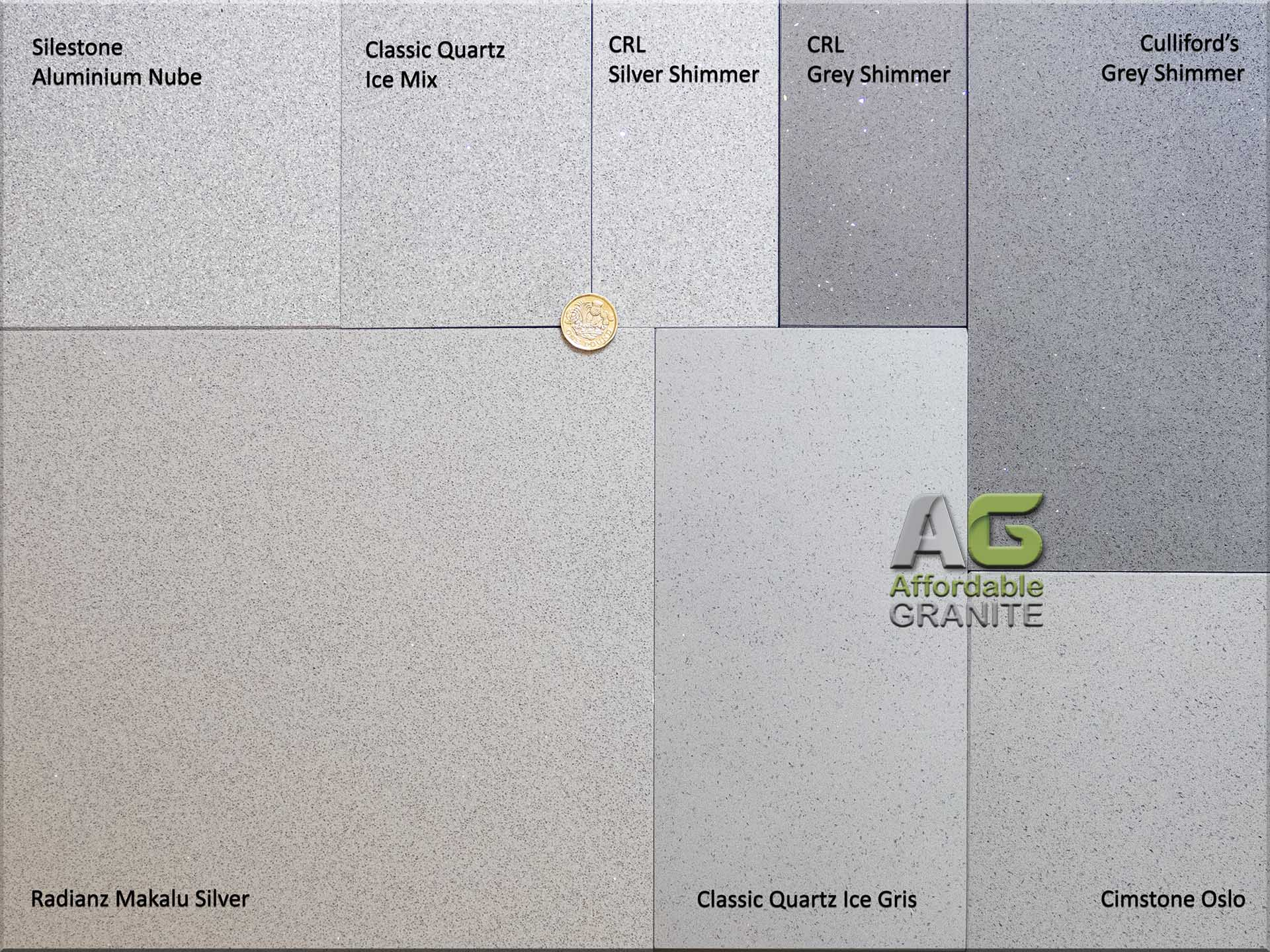 small sparkles Silestone Aluminio Nube CQ Ice Mix Ice Gris CRL Silver Shimmer Grey Shimmer Culliford Grey Shimmer Cimstone Oslo Radianz Makalu Silver redw