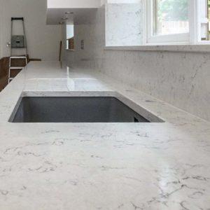 white arabesque recessed drainer quartz worktops